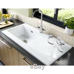 Astini Desire 100 1.0 Bowl Gloss White Ceramic Kitchen Sink & Waste