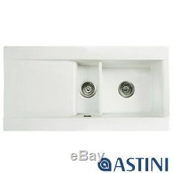 Astini Desire 150 1.5 Bowl Gloss White Ceramic Kitchen Sink & Waste