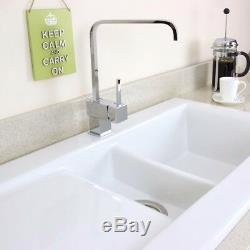 Astini Desire 150 1.5 Bowl Gloss White Ceramic Kitchen Sink, Waste & 5E Tap