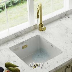 Astini Hampton 100 1.0 Bowl White Ceramic Undermount Kitchen Sink & Bronze Waste