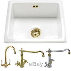 Astini Hampton 100 1.0 Bowl White Ceramic Undermount Kitchen Sink & Gold Waste
