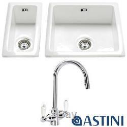Astini Hampton 150 1.5 Bowl White Ceramic Kitchen Sink, Waste & 7018/CP/WL Tap