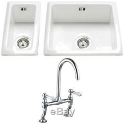 Astini Hampton 150 1.5 Bowl White Ceramic Undermount Kitchen Sink & Chrome Waste