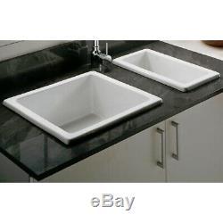 Astini Hampton 150 1.5 Bowl White Ceramic Undermount Kitchen Sink & Copper Waste
