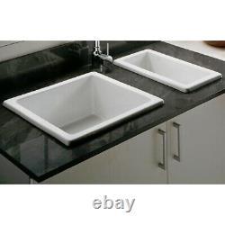 Astini Hampton 150 1.5 Bowl White Ceramic Undermount Kitchen Sink & Gold Waste