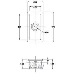 Astini Hampton 50 0.5 Bowl White Ceramic Undermount/inset Kitchen Sink & Waste