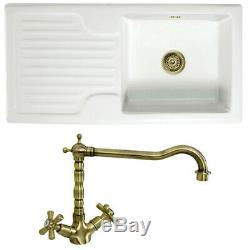 Astini Rustique 100 1.0 Bowl White Ceramic Kitchen Sink & Bronze Waste