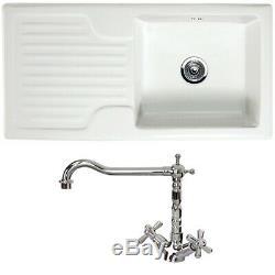 Astini Rustique 100 1.0 Bowl White Ceramic Kitchen Sink & Chrome Waste