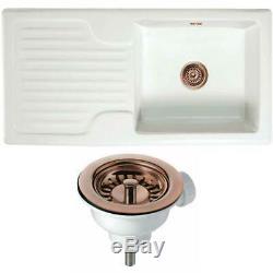 Astini Rustique 100 1.0 Bowl White Ceramic Kitchen Sink & Copper Waste