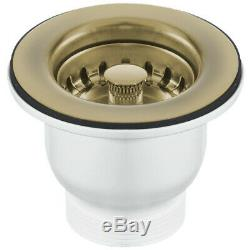 Astini Rustique 150 1.5 Bowl White Ceramic Kitchen Sink & Bronze Waste