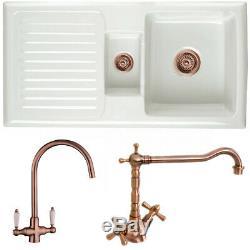 Astini Rustique 150 1.5 Bowl White Ceramic Kitchen Sink & Copper Waste
