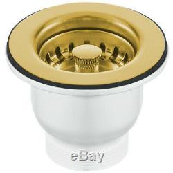 Astini Rustique 150 1.5 Bowl White Ceramic Kitchen Sink & Gold Waste