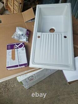 BNIB Cooke & Lewis Burbank Gloss White Ceramic 1 Bowl kitchen sink & drainer