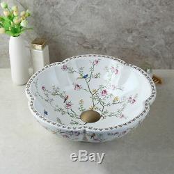 Bathroom Ceramic Basin Bowl Vessel Sinks Antique Brass Mixer Faucet Drain Combo