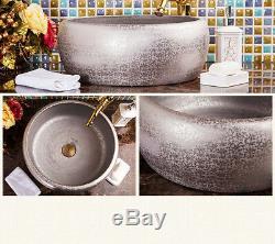 Bathroom Ceramic Silver Basin Bowl Vessel Sink & Gold Brass Mixer Faucet Set