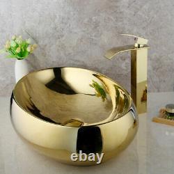 Bathroom Waterfall Gold Mixer Faucet+Oval Gold Ceramic Basin Sink Bowl+Pop Drain