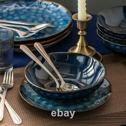 Beautiful Blue 24pc Set Dinner Stoneware Serving Dish Dessert Plates Cereal Bowl