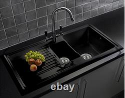 Black Kitchen Sink 1.5 Bowl Ceramic Inset Sink