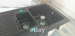 Black Reginox kitchen Bowl and half 1.5 sink ceramic/porcelain