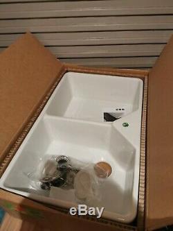 Blanco Villae Double Bowl Farmhouse Ceramic Inset Sink, Cristal White Ref 525164
