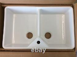 Blanco Villae Twin Bowl Farmhouse, Belfast, Butler Ceramic Sink, Cristal White