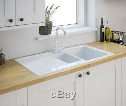 Burbank 1.5 Double Bowl Gloss White Ceramic Reversible Kitchen Sink (A)