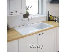 Burbank 1 Bowl Gloss White Ceramic Kitchen Sink And Drainer (9A)