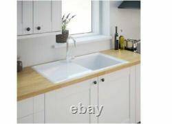 Burbank 1 Bowl Gloss White Ceramic Kitchen Sink And Drainer (L90)