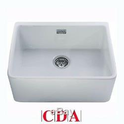 CDA Belfast 1.0 Bowl White Ceramic Kitchen Sink & Waste KC11WH