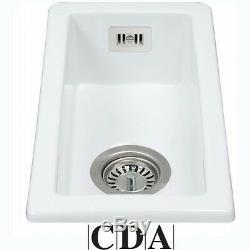 CDA Ceramic 1.0 Bowl White Ceramic Undermount Inset Kitchen Sink & Waste KC41WH