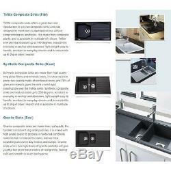 CDA Ceramic 1.5 Bowl White Ceramic Reversible Kitchen Sink & Waste KC24WH