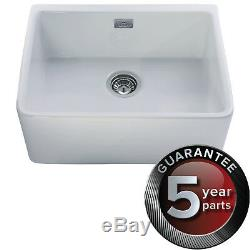 CDA KC11WH Single Bowl Ceramic Belfast Sink White