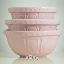 Cane 3 Piece Pink Mixing Bowl Handmade Ceramic Portuguese Artisans Set