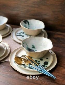 Ceramic Dinnerware Set of Dessert, Dinner Plates and Soup, Salad-Serving Bowl