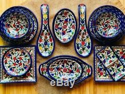 Ceramic Kitchen Set Bowls Plates Armenian Handmade Decorated Holy Land 15 pieces