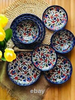 Ceramic Kitchen Set Bowls Plates Armenian Handmade Decorated Holy Land 8 pieces