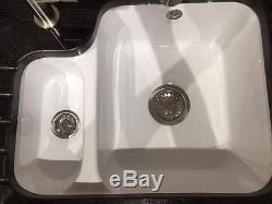 Ceramic Sink Undermount 1810, 1 1/2 Bowl, big bowl to the right Free P+P