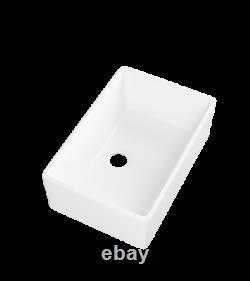 Ceramic White Rectangle SIngle Bowl Farmhouse Apron Kitchen Sink 24 in x 16 in