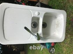 Ceramics 1.5 Bowl White Ceramic Reversible Kitchen Sink & Waste