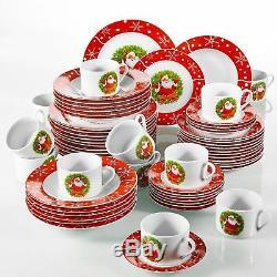 Christmas Santaclaus Dinner Set Red Porcelain Ceramic Tableware Plates Bowl Gift