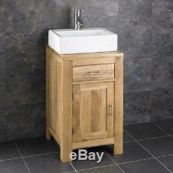 Cloakroom Bathroom Vanity Unit Cabinet Solid Oak 450mm Ceramic Bowl Basin Set