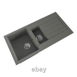 Comite Granite 1.5 Bowl Kitchen Sink Grey With Reversible Drainer-Undermount