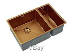 Designer 1.5 Bowl Inset/Undermount Brushed Copper Kitchen Sink & Waste 600 x 450