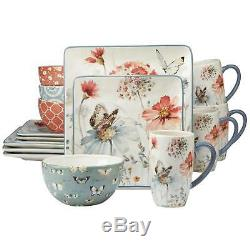 Dinnerware Set 16 Piece Multi Color Floral Butterfly Birds Ceramic Service For 4
