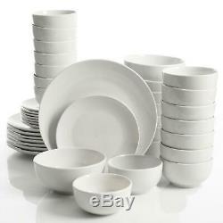 Dinnerware Set 40 Piece White Classic Round Fine Ceramic Service for 8 Microwave