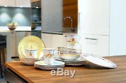 Disney Themed 16 Piece Ceramic Dinnerware Set Plates Bowls Mugs