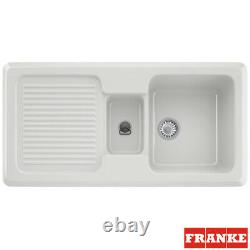 Franke By V&B 1.5 Bowl Gloss White Ceramic Kitchen Sink & Waste VBK651 LHD