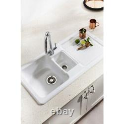 Franke By V&B 1.5 Bowl Gloss White Ceramic Kitchen Sink & Waste VBK651 RHD