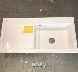 Franke MTK611LW Mythos Single Bowl Ceramic Sink in White with Left Hand Drainer