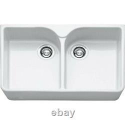 Franke VBK720WHC White Ceramic 2 Bowl Belfast Sink, BRAND NEW IN BOX
